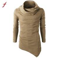 Autumn Men S Slim Fit Tuetleneck Long Sleeve Muscle Tee T Shirt Korean Solid Summer High