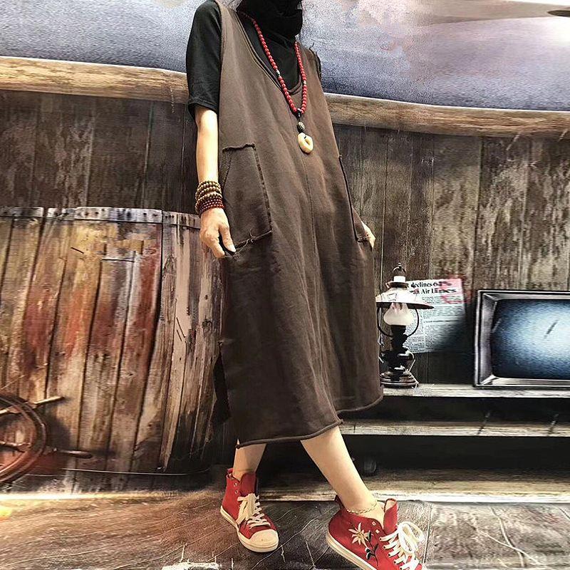 New Zanzea Vintage O Neck Sleeveless Autumn Women Pockets Party Vest Dress Baggy Solid Long Split Hem Pullover Vestido Plus Size
