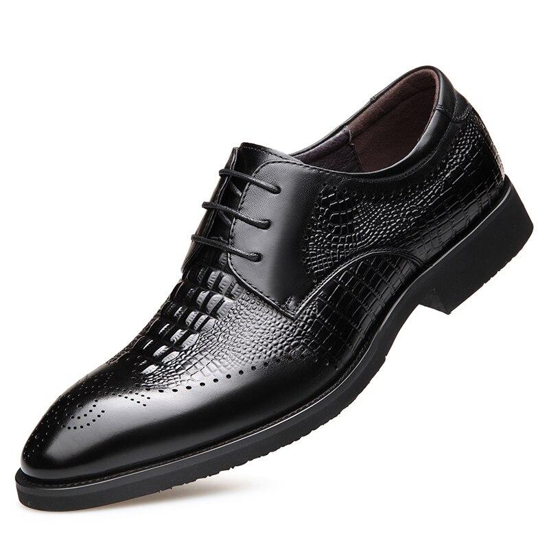 Ayakk.'ten Resmi Ayakkabılar'de 2019 Yeni erkek Kaliteli Hakiki Deri Ayakkabı Timsah Başkanı Deri Sonbahar Ofis Ayakkabı 38 43 erkek Elbise ayakkabı'da  Grup 1