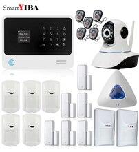 SmartYIBA WIFI GPRS SMS GSM Alarm Kit APP Control IP Camera Security Blue Flash Siren Motion Pet Immune PIR Sensors Alarm