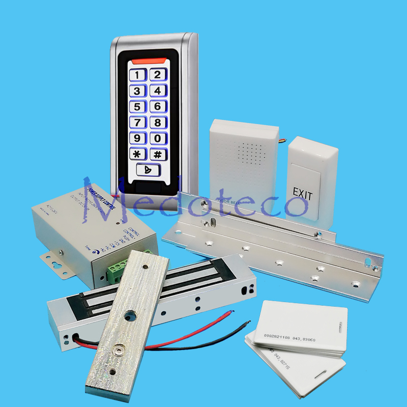 Full Kit Wood Door Access Control System 125Khz Rfid Card Keypad Access Control System Kit + Electric Magnetic Lock & ZL bracket