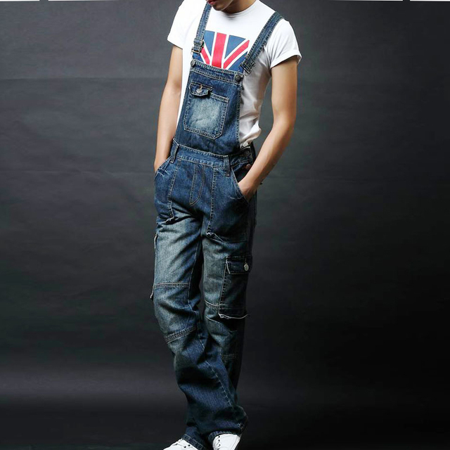 e019bbf730a Men s plus size pocket overalls Fashion denim jeans for lovers Loose jumpsuits  male Bib pants denim