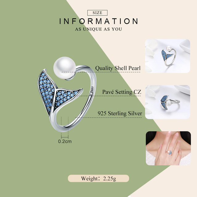 BISAER 100% 925 Sterling Silver Female Mermaid Tail Adjustable Finger Rings for Women Wedding Engagement Jewelry S925 GXR286 4