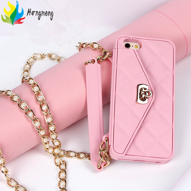 lady Handbag wallet card bag long pearl chain soft silicone phone case For iphone  XS MAX XR XS 7 6S 8 plus X fashion cover 6e3ade926ce6