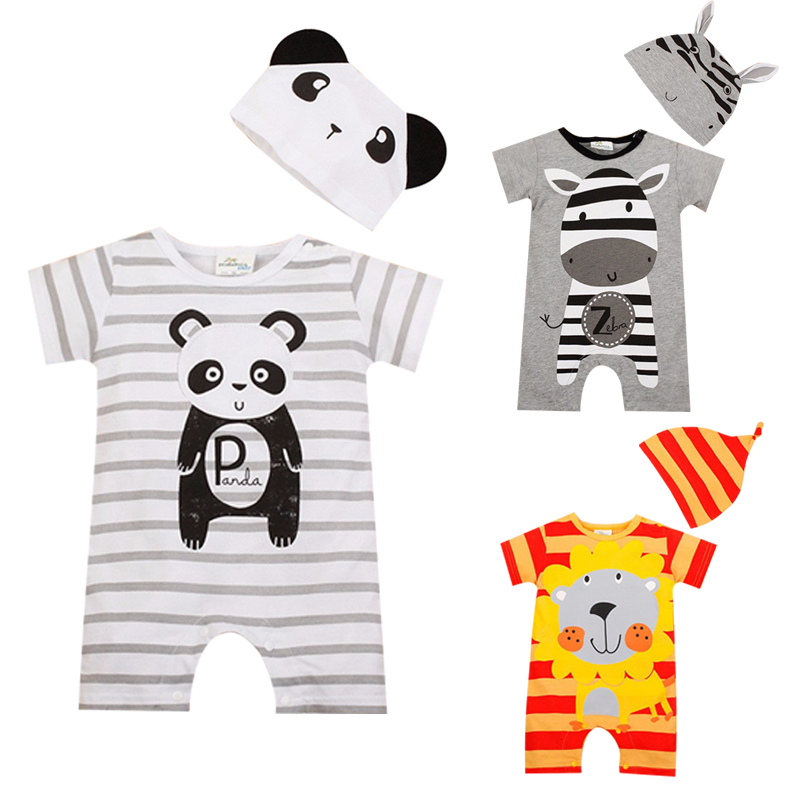 цена на Baby Boy Rompers Summer Baby Girl Clothing Sets Short Sleeve Newborn Baby Clothes Roupa Bebes Infant Jumpsuit Baby Boys Clothes