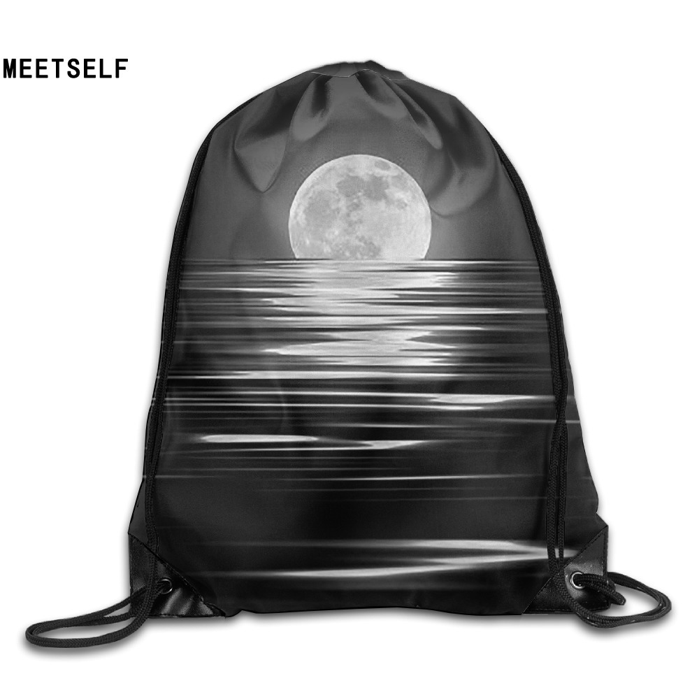 Samcustom 3d Print Moon On The Water Shoulders Bag Women Fabric Backpack Girls Beam Port Drawstring  Dust Storage Bags