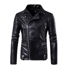 Men Leather Jackets and Coats Side Zipper Punk Slim Fit Faux PU Motorcycle Rock Junior Tops And Outwear