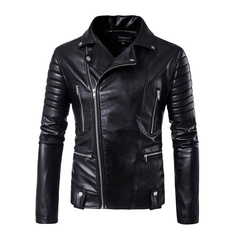 男性レザージャケットジャケットとコートサイドジッパーパンクスリムフィットフェイクレザージャケット PU オートバイロックジュニアトップスと生き抜く  グループ上の メンズ服 からの ジャケット の中 1