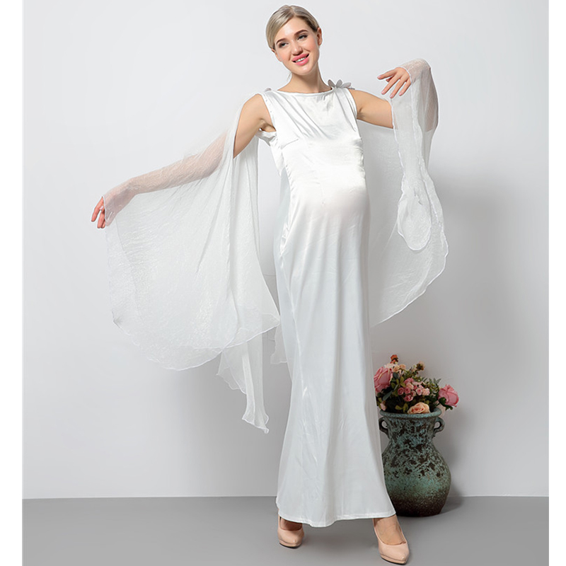 Maternity Dresses for Baby Showers Maternity Photography Props Long Pregnancy Dress for Photo Shoot White Maternity Gown