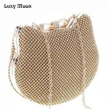 Mode luxus diamant silber abendtaschen cat head gold strass kupplung bogen knoten kristall geldbörse glitter bolsa feminina 1272