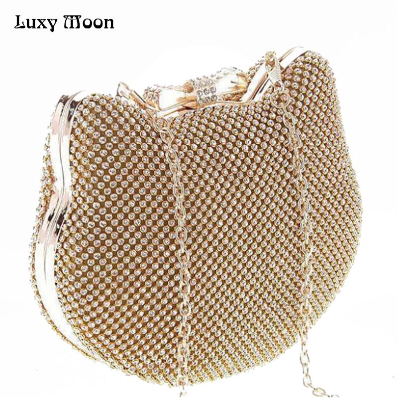 Prix pour Mode de luxe diamant argent de soirée sacs cat head or strass embrayage arc noeud cristal bourse glitter bolsa feminina 1272