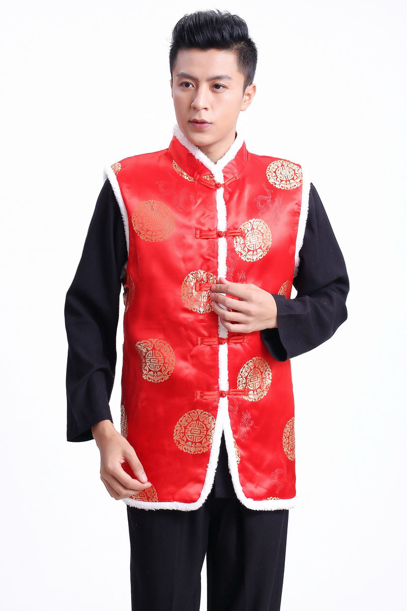 Shanghai Story New Sale Tang Suit Ethnic Chinese Traditional Clothing Vest Men Chinese Top For Winter 2 Color