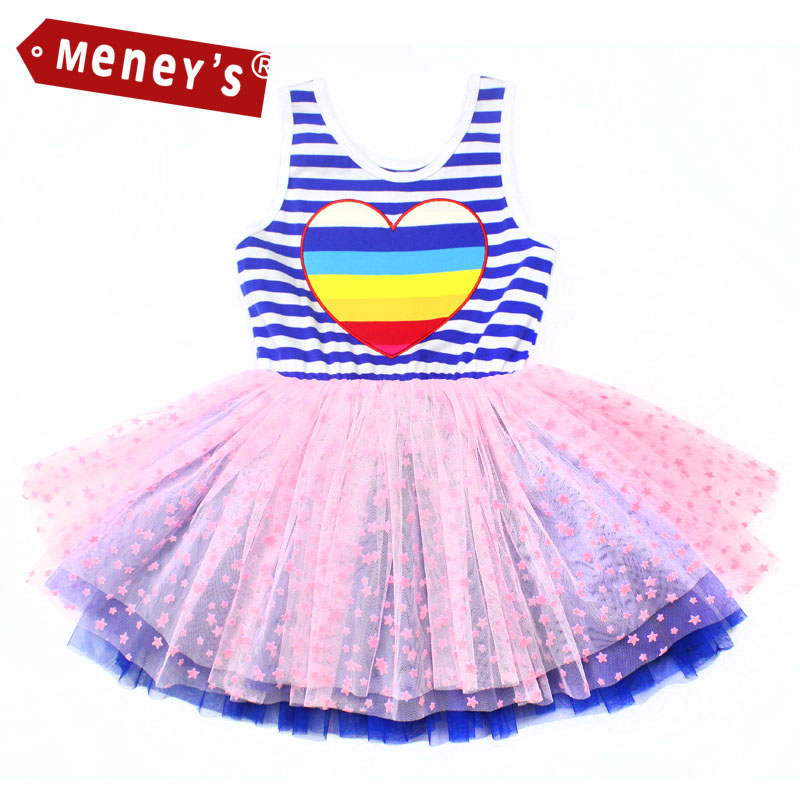 2016 Baby Girls Tutu Dresses Ball Gown Mini Blue Striped Sleeveless Birthday Party Dress for Kids Vest Clothes Summer Girl Dress kids tutu dress girl flower dress 2016 summer girls party dresses with gloves fashion dance dress kids girls clothes ball gown