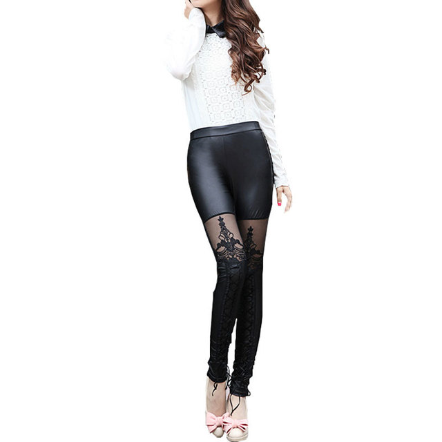 Black Legins Punk Gothic Fashion Women Leggings Sexy PU Leather Stitching Embroidery Hollow Lace Legging For Women Leggins 6