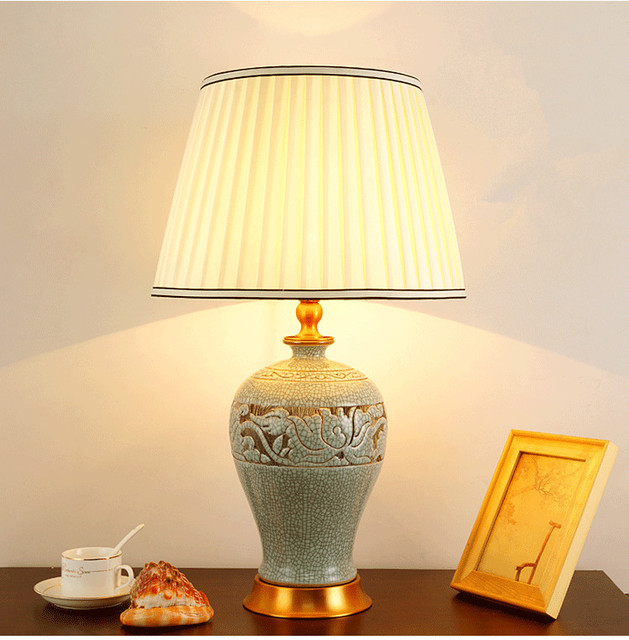 Chinese Antique Blue And White Ceramic Table Lamp Desk Lamps Porcelain Table  Lamp Jingdezhen For Living