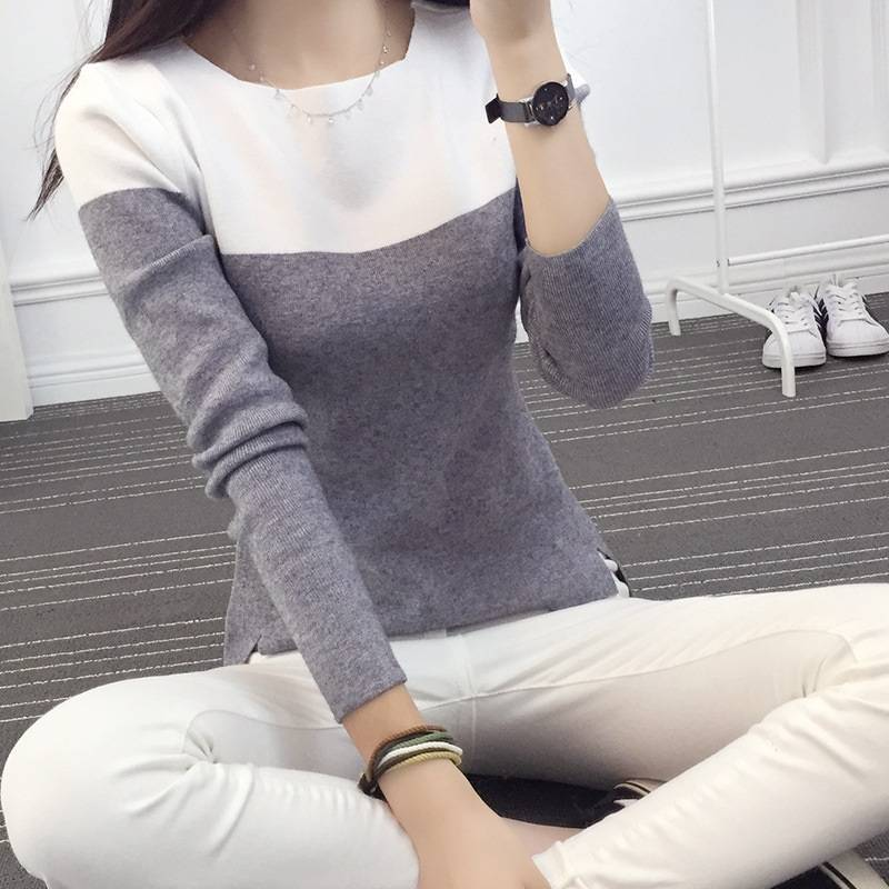 Long Sleeve Winter Sweaters Patchwork Pink Gray Black Cotton Knitted Warm Christmas Sweaters Slim Fit Pullovers