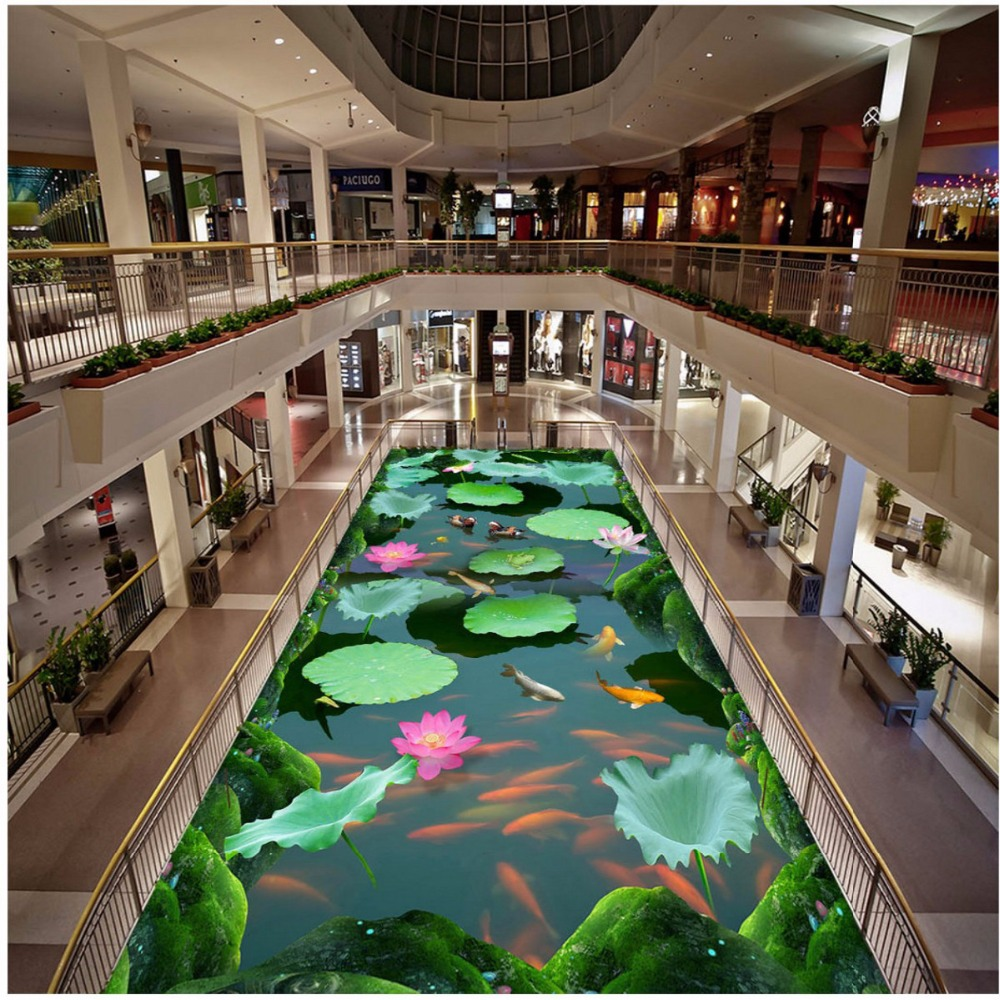цены Free Shipping lotus pond carp 3D stereo custom flooring painting mural non-slip wear PVC floor tile sticker