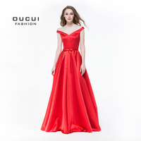 Real photos Simple Red Prom Dress Off The Shoulder Satin Fitted Corset Long Formal Gown Evening Dresses Lace up V neck OL102948