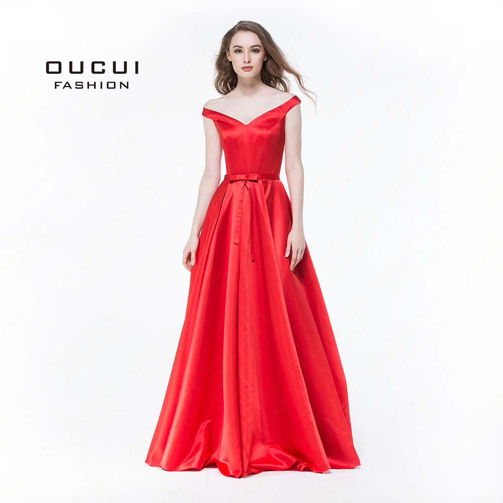 Red And White Evening Dress: Simple Red White Long Prom Dresses Off Shoulder Satin