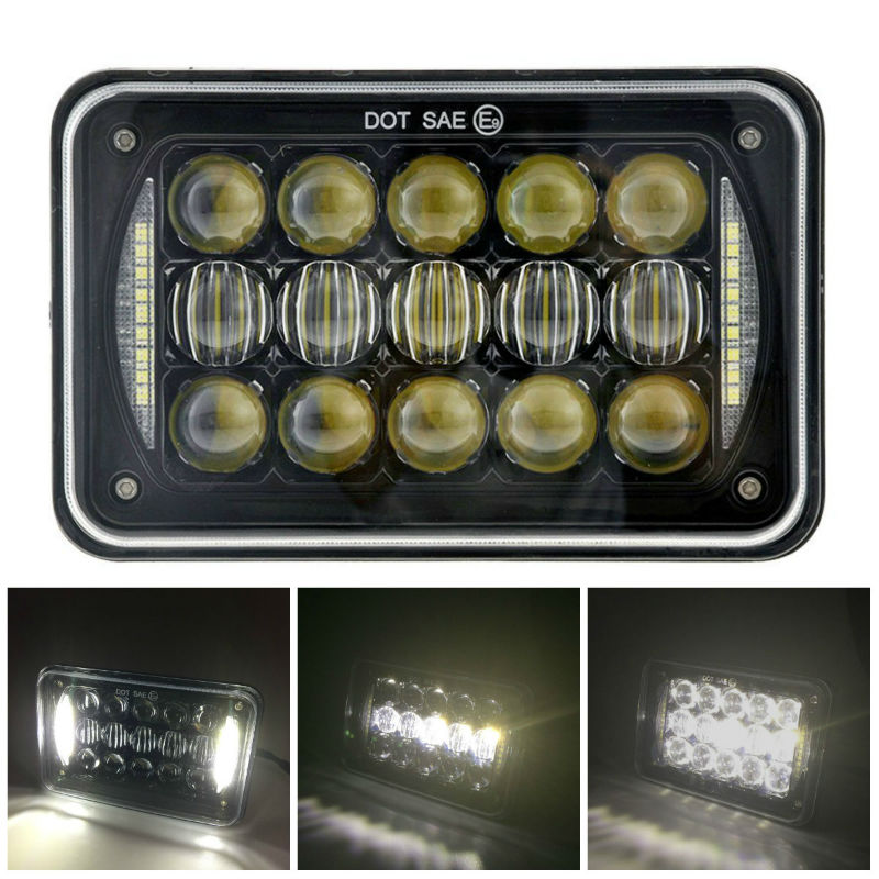 4x6 Inch 5D LED Rectangular Headlight Sealed Beam Replacement H4651 H4652 H4656 H4666 H6545 with DRL for Peterbil