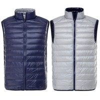 Duck Down Men Vest Two Side Wear Ultra Light Men Vest Thin Waistcoat 2016 Fashion Sleeveless