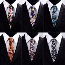 Cotton Polyester Print Floral Men Tie Fashion Classical 7cm/6cm Ties Flower Wedding Party Strips Business Cheap Slip Necktie