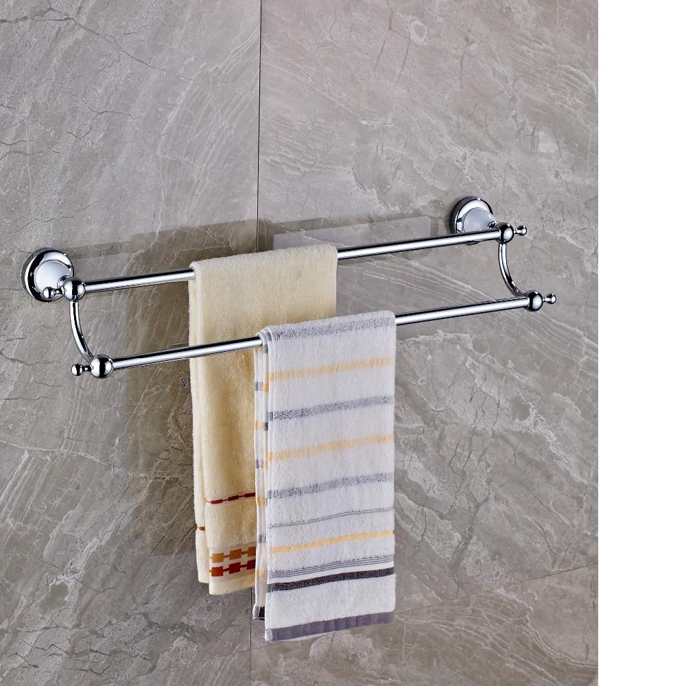 Polished Chrome Brass Bathroom Towel Rack Holder Dual Towel Bars Ceramic Base In Towel Racks