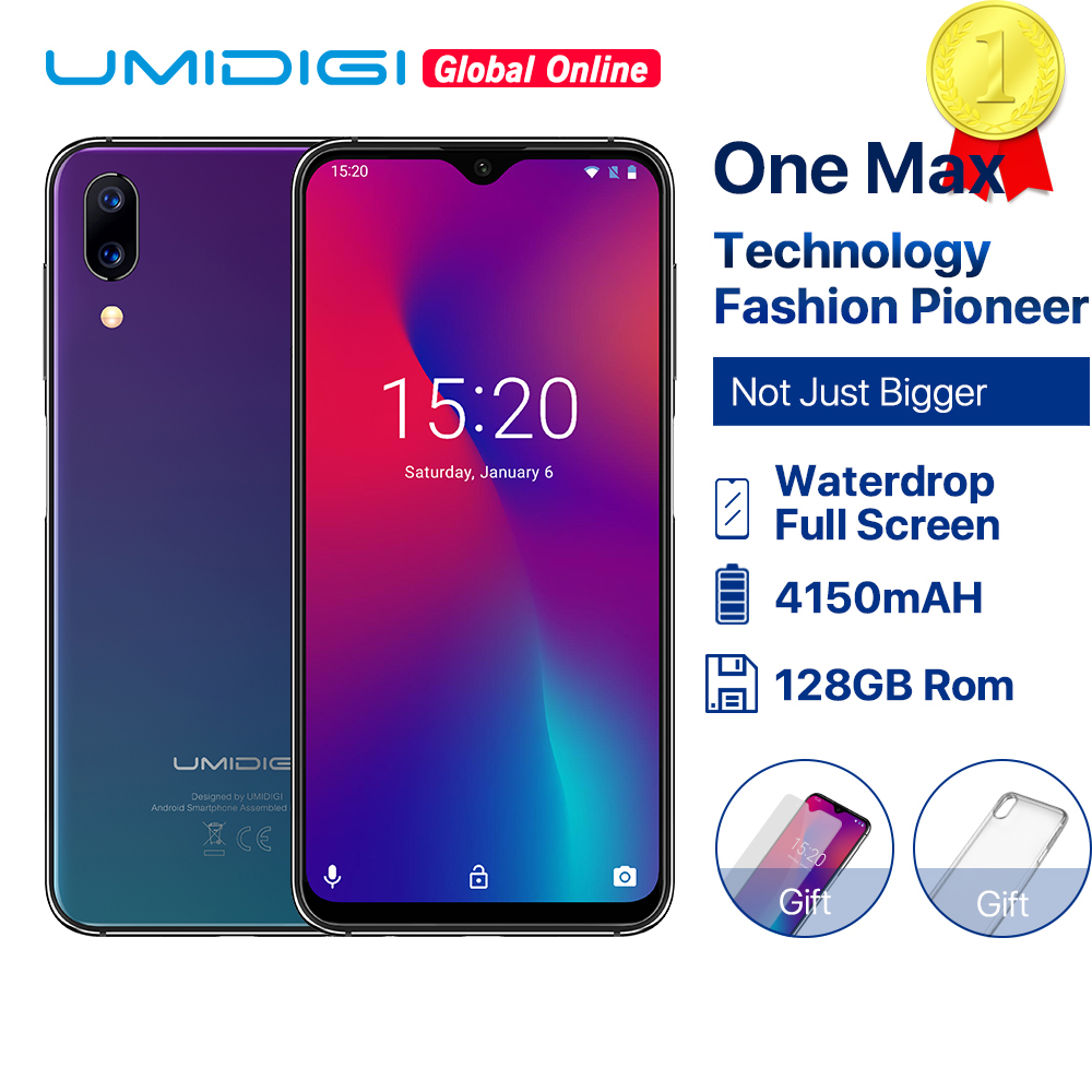 """Refurbished UMIDIGI One Max Global Vertion 128GB 6.3"""" Waterdrop Full Screen Smartphone 4150mAh NFC Wireless Charge Android 8.1