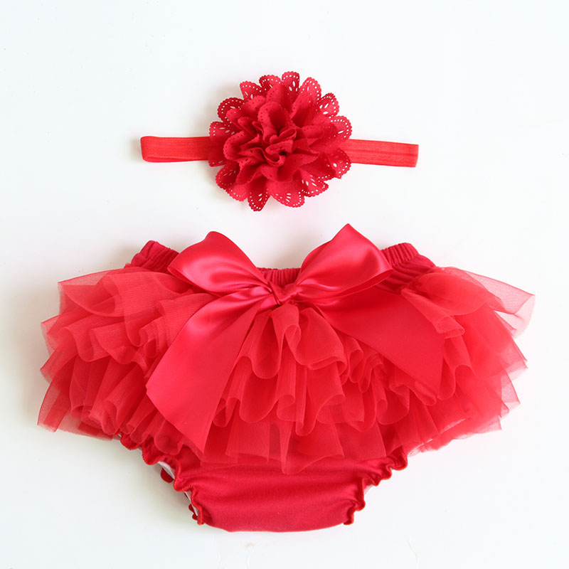 Newborn Baby Cotton Bloomers Cute Kids Girl flower Tulle   Shorts   Infant Ruffled Diaper Panties Baby Girls Chiffon Headband