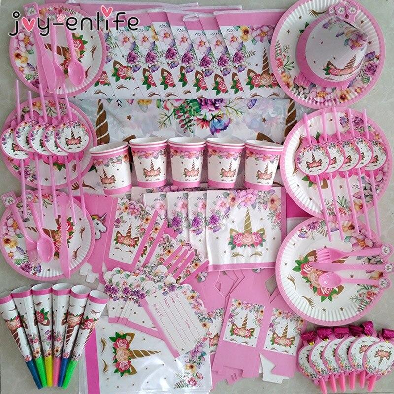 Unicorn Party Supplies Pink Rainbow Unicorn Banner Plates Balloons Napkin Cupcake Wrapper Baby Shower Kids Birthday Decorations