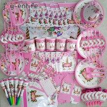Suministros de fiesta de unicornio Rosa Arco Iris unicornio Banner placas globos servilleta Cupcake envoltura Baby Shower niños decoraciones de cumpleaños