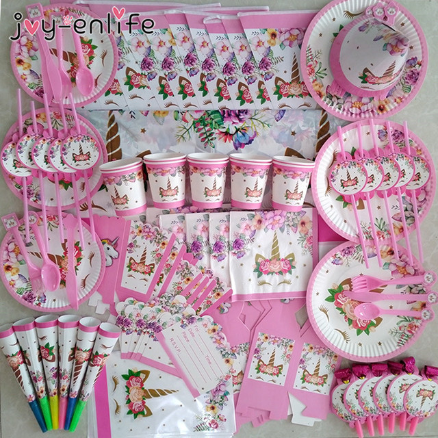 Unicorn Party Supplies Pink Rainbow Unicorn Banner Plates Balloons Napkin Cupcake Wrapper Baby Shower Kids Birthday