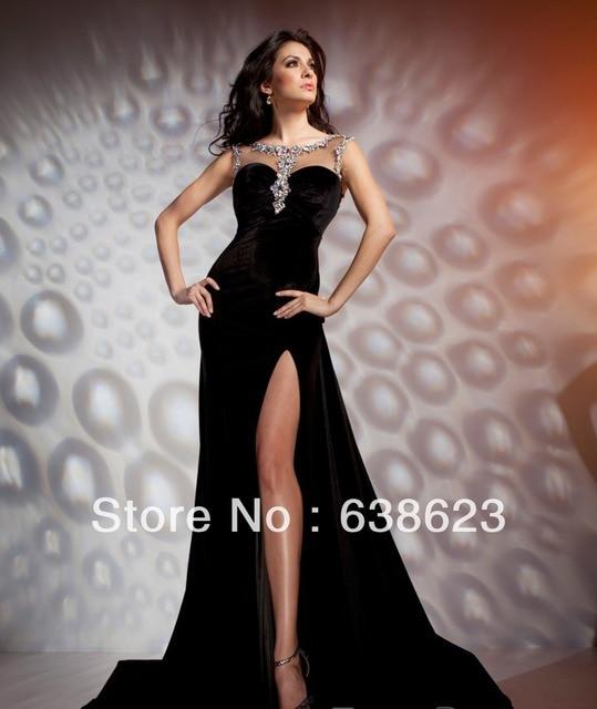 54b47f4df6d Ael127 mode dentelle Tule Crystlas velours noir Tulle retour de Split soirée  Celebrity robe