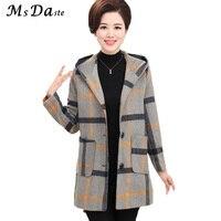 2017 Winter Autumn Woolen Women Coats Jacket Vintage Plaid Lady Hooded Coat Casaco Feminino Jaqueta Chaqueta
