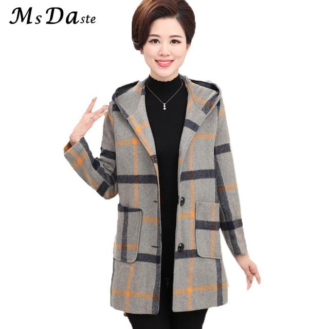 598637506a2 2017 Winter Autumn Woolen Women Coats Jacket Vintage Plaid Lady Hooded Coat  Casaco Feminino Jaqueta Chaqueta Mujer Plus Size 4XL