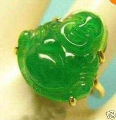 จัดส่งฟรี>>>>>>เครื่องประดับยิ้มท้องแกะสลักพระพุทธรูปสีเขียวหินทองผู้หญิงแหวนขนาด7,8, 9