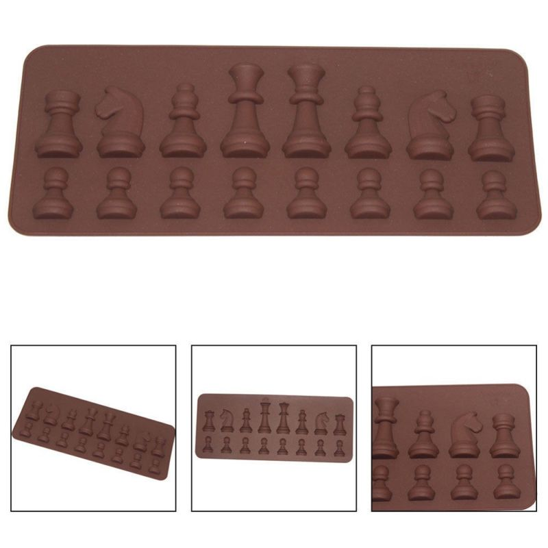 3D International Chess King Queen Knight Rook Pawn Bishop Single-Sided Fondant Cake Chocolate Molds for Kitchen Baking