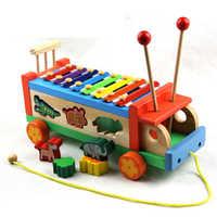 Kinder Frühe Bildung Spielzeug Tier Schleppen Klopfen Waagen Klopfen auf Die Piano Player Klopfen Puzzle Holz Spielzeug Geschenk