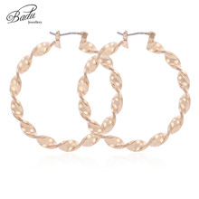 Badu Silver Big Circle Round Hoop Earrings Twisted Gold Color For Women Party Jewelry PuNK Style Large Oversize Wholesale недорого