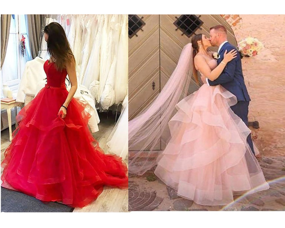 HONGFUYU 2019 Lace Up Long Wedding Dresses Flowy Unique Sweetheart Bridal Wedding Gowns Tiered Tulle Sleeveless Custom Ball Gown