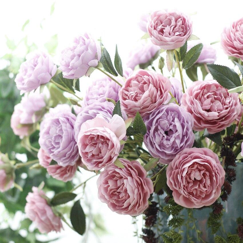 10 pièces haute qualité 3 tête Rose fleur de soie artificielle colorée vraie touche pivoine fleurs pour mariage fête décoration fournitures