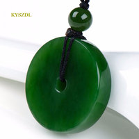 KYSZDL Natural green stone carving Pingan buckle pendant fashion sweater chain stone necklace pendant jewelry