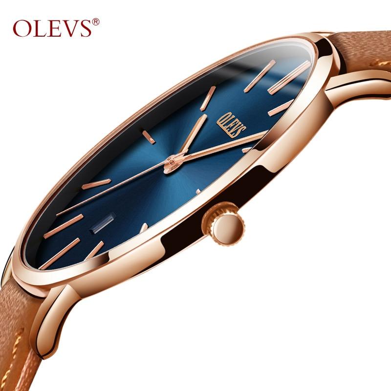 OLEVS Hommes Montres Top Marque De Luxe Sport Montre Ultra Mince Montre-Bracelet En Cuir Pour Hommes Auto Date Résistant À L'eau Quartz Montre-Bracelet