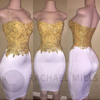 White Gold Cocktail Dresses 2019 Sheath Halter Appliques Beaded Short Mini Elegant Homecoming Dresses