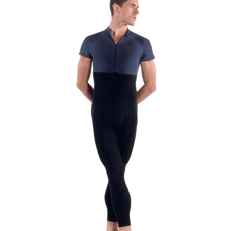 Top Quality Lycra Men Dark Blue&Black Catsuit Jumpsuit Second Skin Tight Zentai Short Sleeve Gymnastics Unitard Leotard Bodysuit