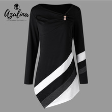 ceed9ab4257d AZULINA Plus Size Women Clothing Spring Buttons Striped Asymmtrical Tunic  Top T-Shirt Women T Shirts Long Sleeve Ladies Tops 5XL