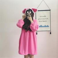Japanse Leuke Lolita Hooded jurk Grote Oren Lange mouw Studenten lange Stijl Tall Taille Lijn Mei Rood Gratis Grootte