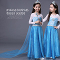 Elsa Costume Lace Princess Dress With Long Back shoulder cape Toddler Girl Clothing La Reine Des Neiges Girls Costumes Hot Sale