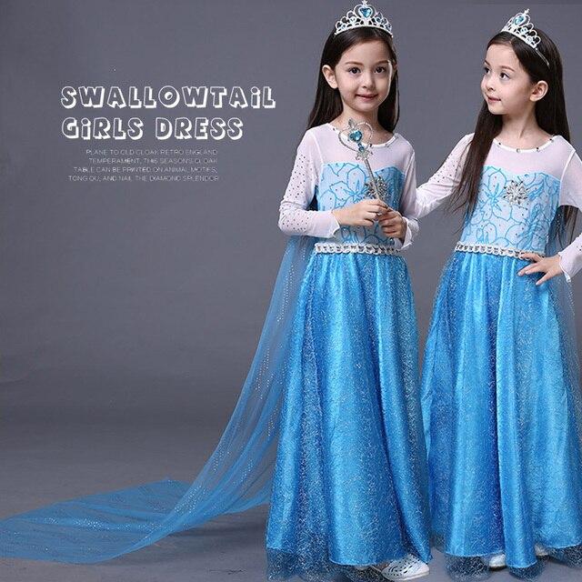 Elsa Costume Lace Princess Dress With Long Back shoulder cape Toddler Girl Clothing La Reine Des Neiges Girls Costumes Hot Sale