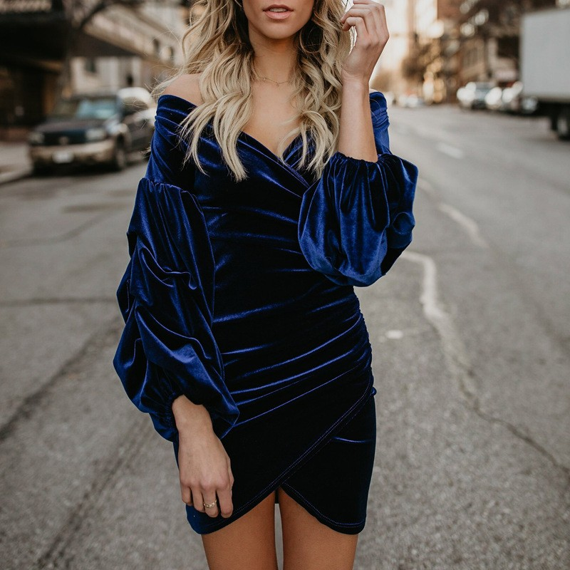 2019 Fall Winter <font><b>Dress</b></font> <font><b>Women</b></font> Vintage Velvet <font><b>Dress</b></font> <font><b>Plus</b></font> <font><b>Size</b></font> Elegant <font><b>Sexy</b></font> Bodycon Evening Party Office Lady <font><b>Dress</b></font> image
